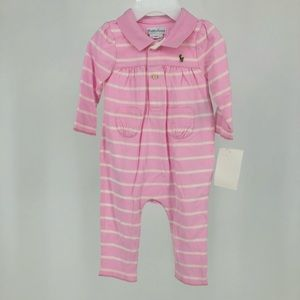 Ralph Lauren Pink Striped One Piece 6 Months New